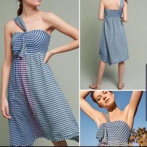 Anthroplogie Waverly One Shoulde Maeve Plaid Dress